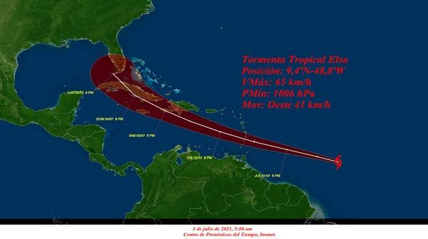Aviso de ciclón tropical no. 4, Tormenta tropical Elsa se intensifica ligeramente en su rumbo hacia las Antillas Menores