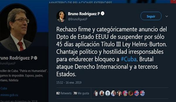 Cuba rechaza chantaje político del Gobierno de EE.UU. para recrudecer bloqueo