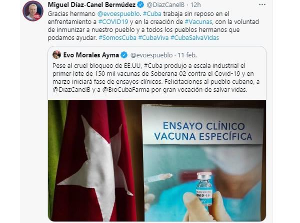 Presidente cubano agradece a Evo felicitación por avances en candidatos vacunales anti-Covid-19