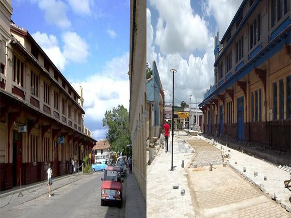 Calle Van Horne entre República y Avellaneda antes de la remodelación /Actual diseño de la calle con adoquines y otros materiales constructivos