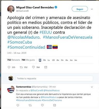 Rechaza Díaz-Canel declaraciones de exmilitar estadounidense sobre opción de asesinar a Maduro