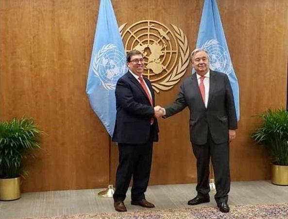Dialogan Canciller cubano y titular de la ONU sobre bloqueo de EE.UU.