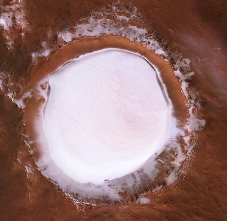 Publican foto de cráter gigante congelado del planeta Marte