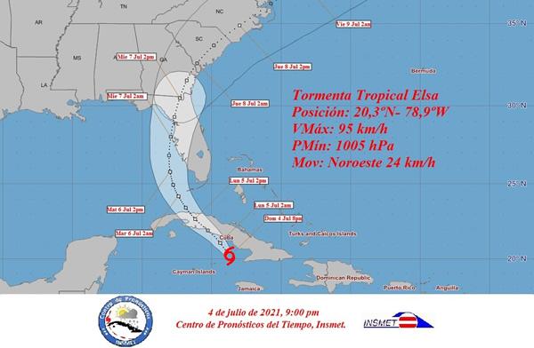 Aviso de ciclón tropical No. 18. Elsa se aproxima al sur de la región central