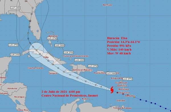 Aviso de ciclón tropical # 7: Elsa se debilita ligeramente y continúa moviéndose rápido al oeste noroeste