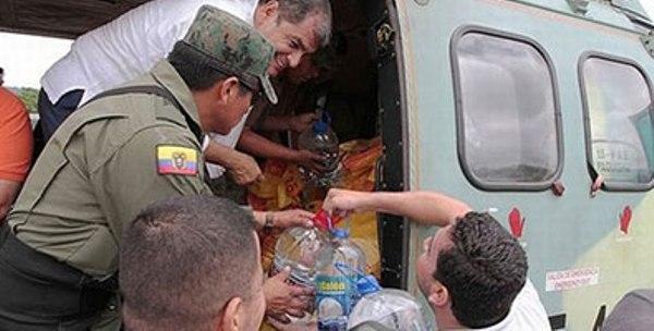 Correa agradece donativos para damnificados por sismo y garantiza su adecuado uso