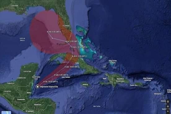 Depresión tropical Eta inclina su rumbo al este nordeste