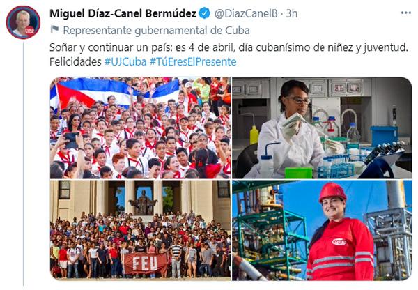 Felicita Díaz-Canel a la UJC y la OPJM en sus aniversarios