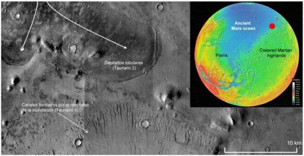 Investigadores hallan evidencia de antiguos megatsunamis en Marte