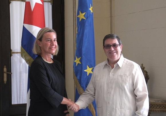 Recibe Canciller cubano a Alta Representante de la Unión Europea