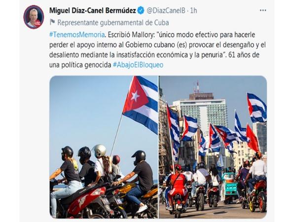 President of Cuba denounces document that establishesUSblockade