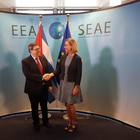 Canciller cubano dialogó con Federica Mogherini sobre extraterritorialidad de Ley Helms-Burton y situación en Venezuela