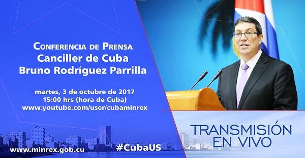 Conferencia de prensa del Canciller cubano sobre retirada de diplomáticos de Washington (En Vivo)