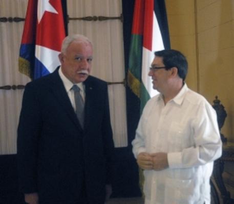 Recibe Bruno Rodríguez a Canciller de Palestina