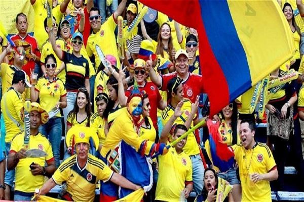 Hinchada colombiana optimista ante partido con Senegal