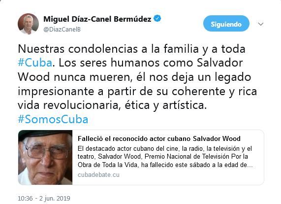 Díaz-Canel expresa condolencias a familia del actor cubano Salvador Wood