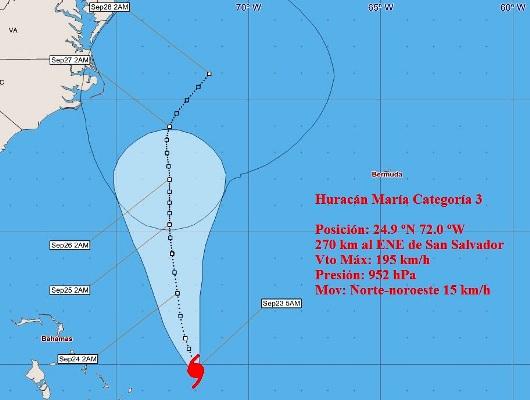 Huracán María mantiene intensidad al norte del Atlántico
