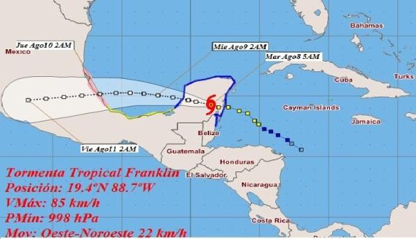Se debilita tormenta Franklin en la Península de Yucatán