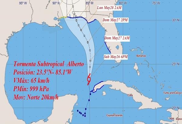 Relocalizado el centro de tormenta Alberto en sudeste del Golfo de México