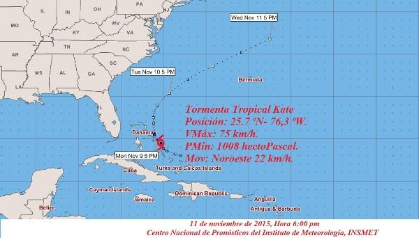 Tormenta tropical Kate cerca de las Bahamas septentrionales
