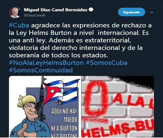 Mandatario cubano agradece rechazo internacional a ley Helms-Burton