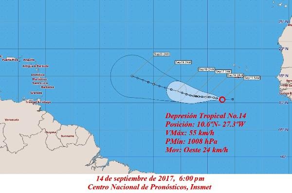 Nueva depresión tropical se mueve al oeste por el Atlántico