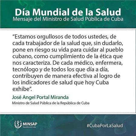 """Ministro cubano de Salud Pública a trabajadores del sector: """"estamos orgullosos de ustedes"""""""