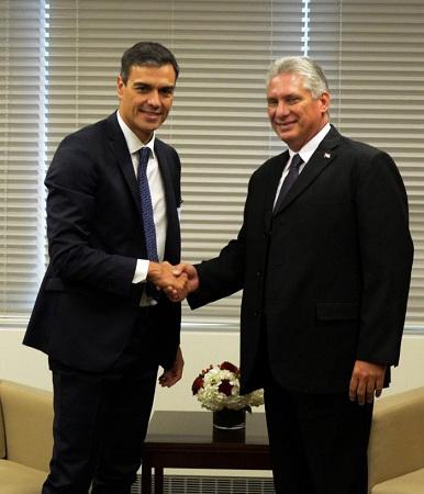 Presidente cubano se reúne con sus similares de España y Argentina