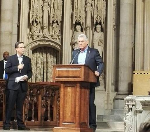 Presidente cubano asiste a acto de solidaridad en iglesia Riverside de Harlem (+ Fotos)