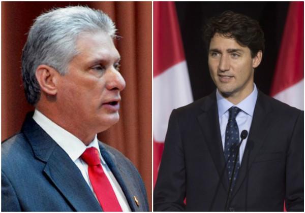 Jefe de Estado cubano dialoga con Primer Ministro canadiense