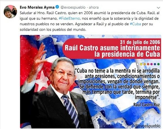 Evo agradece a Raúl y los cubanos su solidaridad internacional