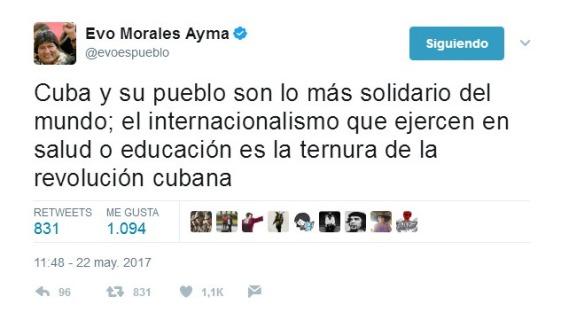 Destaca Evo Morales solidaridad del pueblo cubano