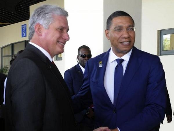 Díaz-Canel intercambia con Primer Ministro de Jamaica y el Presidente de Haití (+Fotos)