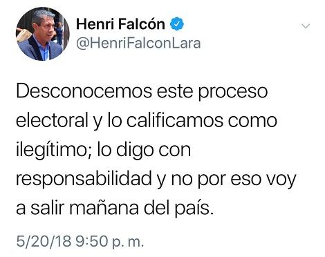 Desconoce triunfo de Maduro candidato opositor Henri Falcón