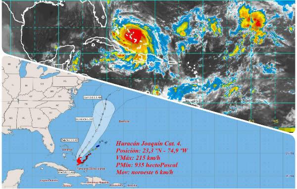 Joaquín se mueve lentamente al noroeste, por Bahamas centrales