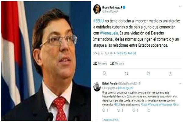 Rechaza Bruno Rodríguez sanción de EE.UU. a empresa cubana por comerciar con Venezuela