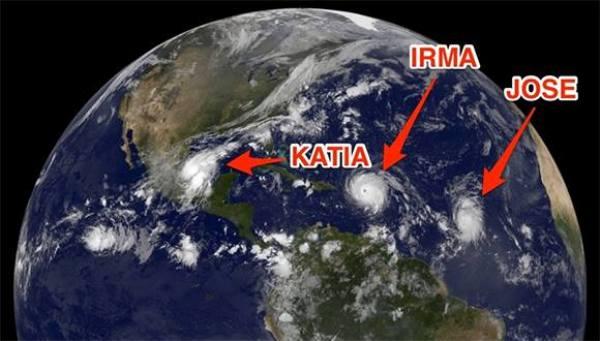 Tres huracanes simultáneos en el Atlántico