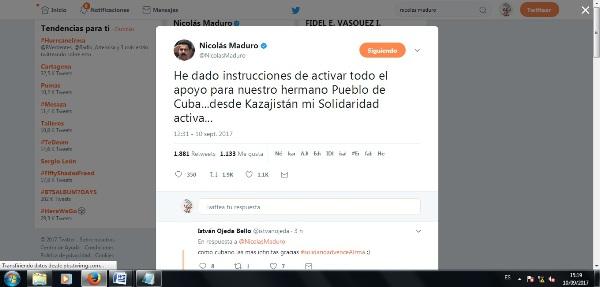 Presidente Maduro ordena activar plan de ayuda a Cuba