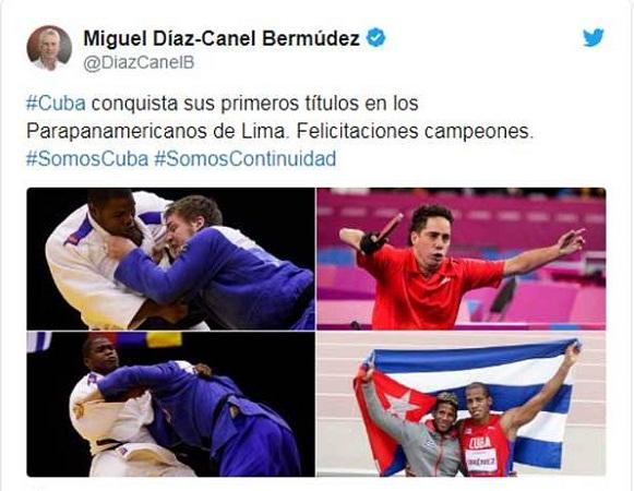 Díaz-Canel felicita a deportistas cubanos en Juegos Parapanamericanos