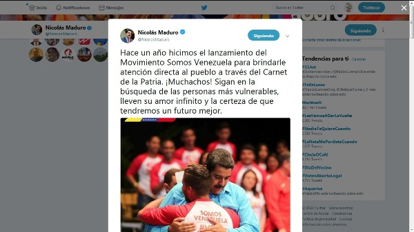 President Maduro emphasizes work of the Movement We Are Venezuela after one year of created
