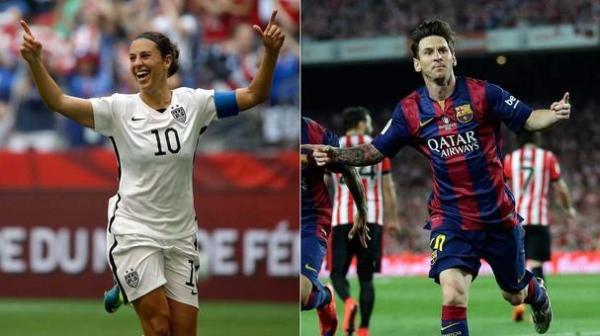 Balón de Oro para Messi y Carli Lloyd, Luis Enrique mejor entrenador