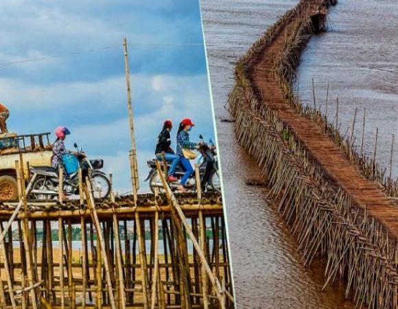 Puente de bambú más largo del mundo se arma y desarma cada año