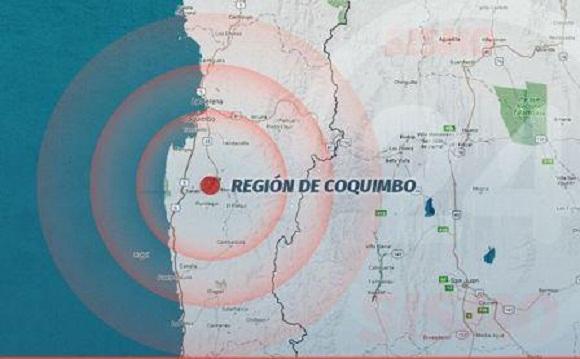 Reportan seísmo de mediana intensidad en centro-norte de Chile