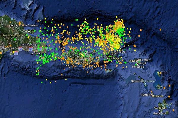 Enjambre sísmico alrededor de Puerto Rico, hace unos años.