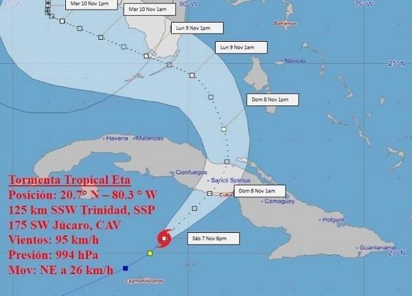 Alrededor de la media noche, Eta se adentrará en territorio cubano