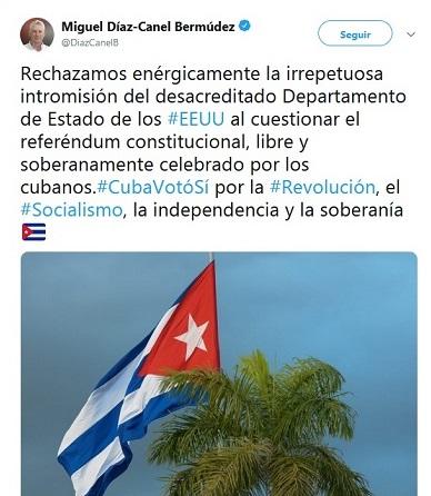 Díaz-Canel: EE.UU. no tiene moral para cuestionar referéndum constitucional en Cuba