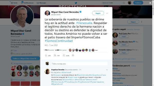 Presidente cubano reitera apoyo incondicional de la mayor de las Antillas a Venezuela