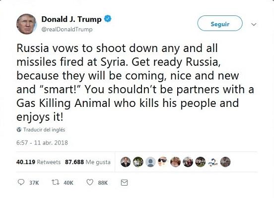 Trump advierte a Rusia sobre lanzamiento de misiles en Siria