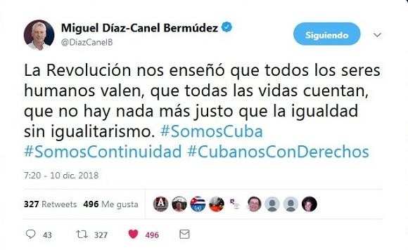 Cuba defiende sus derechos y los de la Humanidad, afirma Díaz-Canel (+ Tuits)