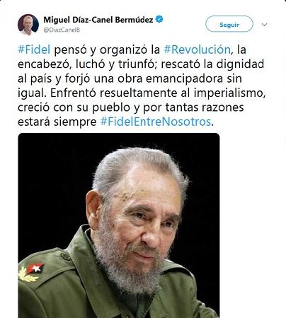 Díaz-Canel en Twitter: Fidel estará siempre
